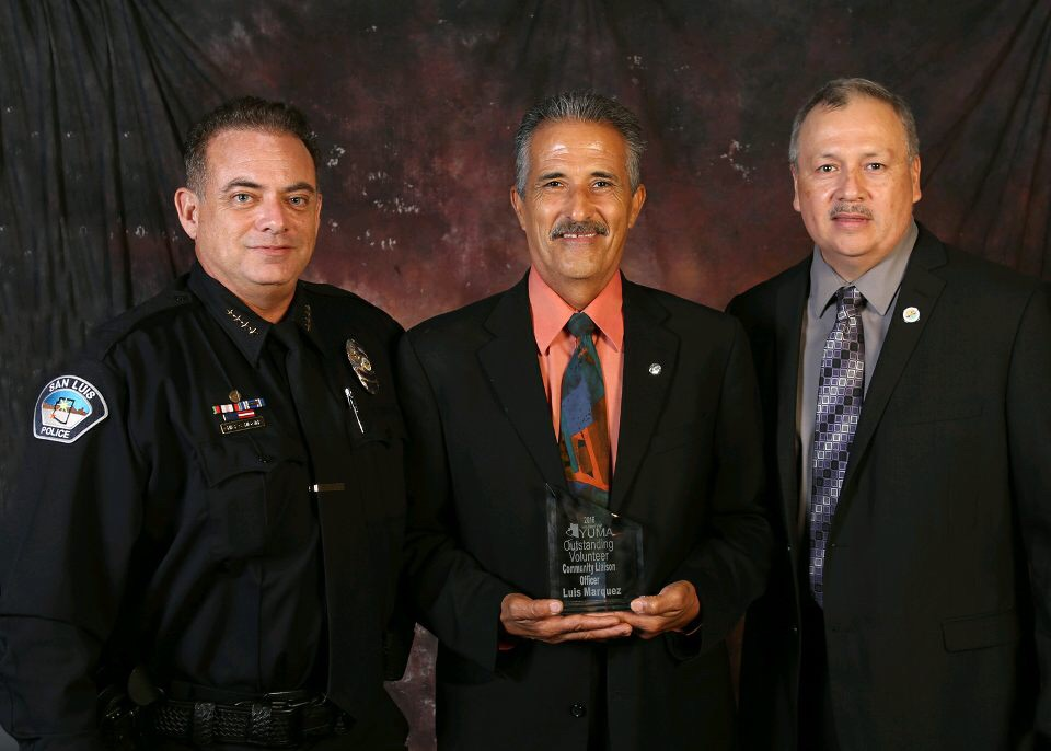 Chief Higgins, Officer Marquez, Mayor Sanchez